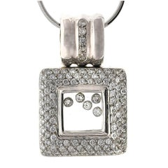 White Gold Square Diamond Slide