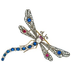 Impressive Victorian Diamond Ruby Sapphire Gold Dragonfly Brooch or Pendant