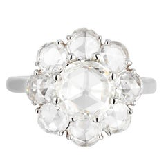 Bayco GIA Certified 2.23 Carat Rose Cut Diamond Platinum Cluster Ring