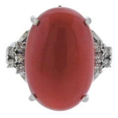Platinum Coral Diamond Ring
