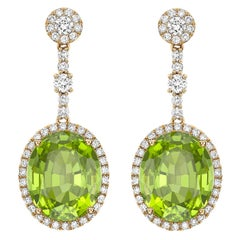 Kiki McDonough 18 Carat Yellow Gold Oval Cut Peridot and Diamond Drop Earrings