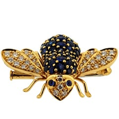 Sabbadini Sapphire and Diamond Bee Brooch