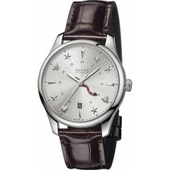 Gucci G-Timeless Silver Dial Automatic GMT Men's Leather Watch Item No. YA126332