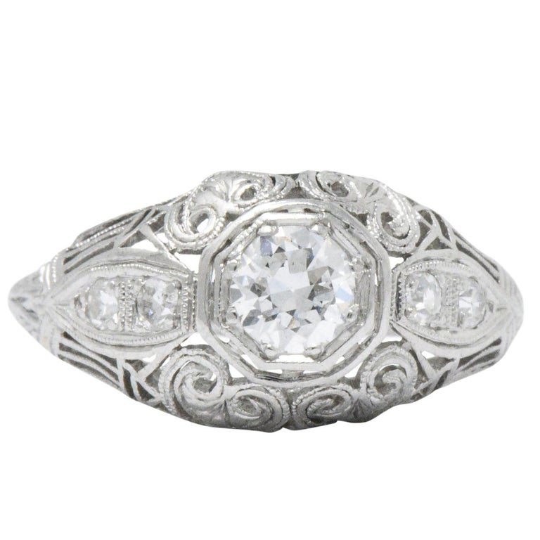 Art Deco 0.40 Carat Diamond Heart Filigree Platinum Engagement Ring For Sale