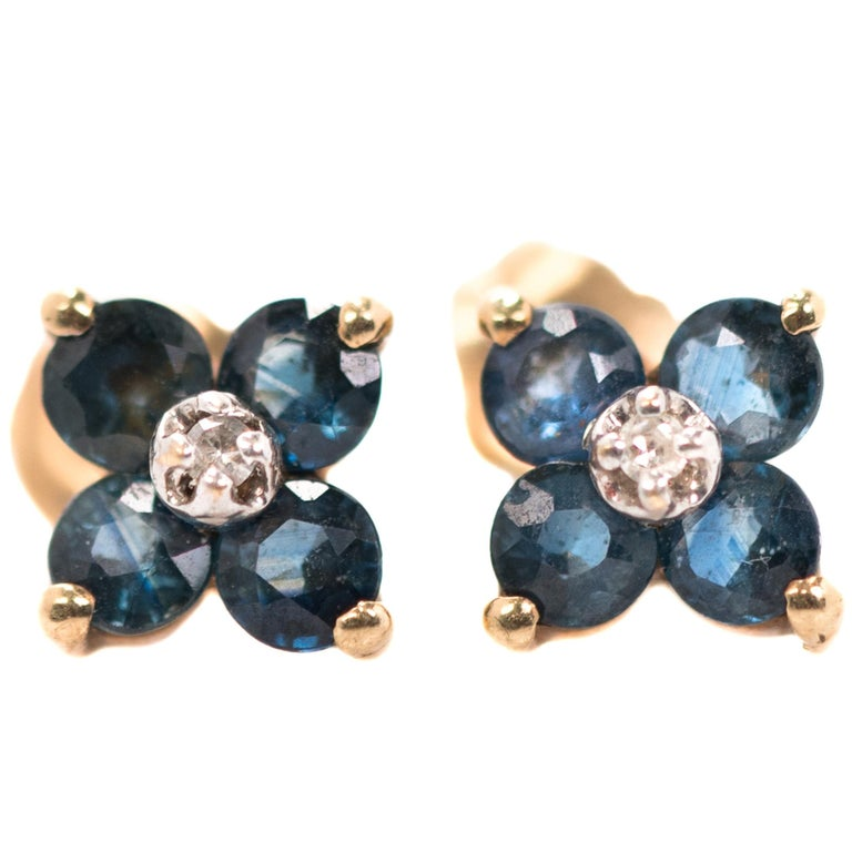 Sapphire and Diamond Floral Stud Earrings in 14 Karat Yellow Gold, White Gold For Sale