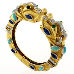 18KG+Platinum Sapphire Turquoise Diamond Emerald THE ELIZABETH TAYLOR Bracelet