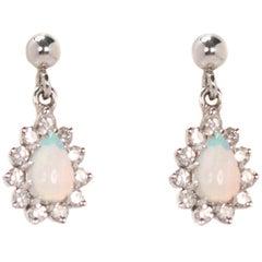 Opal with Diamond Halo Drop Earrings in 14 Karat White Gold