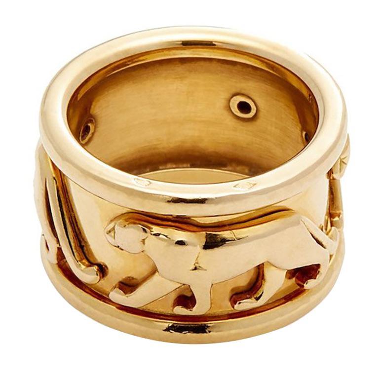 Cartier Walking Panther Yellow Gold Ring 12g