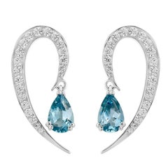 Liv Luttrell Full Curve White Gold and Diamond Aquamarine Earrings