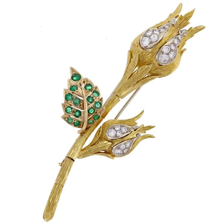 David Webb Emerald and Diamond Flower Brooch