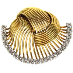 1950s Cartier Paris Retro Diamond Gold Brooch