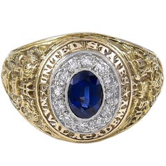1949 U.S. Naval Academy Bailey Banks Biddle Sapphire Diamond Ring