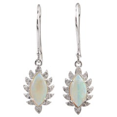 Meghna Jewels Claw Single Drop Ethiopian Opal Marquise Earrings and Diamonds