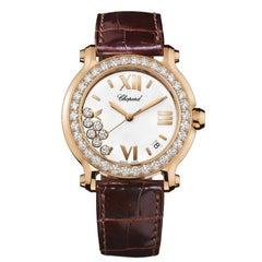 Chopard Happy Sport Round Diamond 18 Karat Rose Gold Ladies Watch, 277473-5001