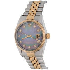 Rolex Yellow Gold Stainless Steel Diamond Datejust Automatic Wristwatch 16013