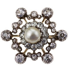 Victorian Natural Pearl and Diamond Snowflake Brooch Set in Gold and Silver