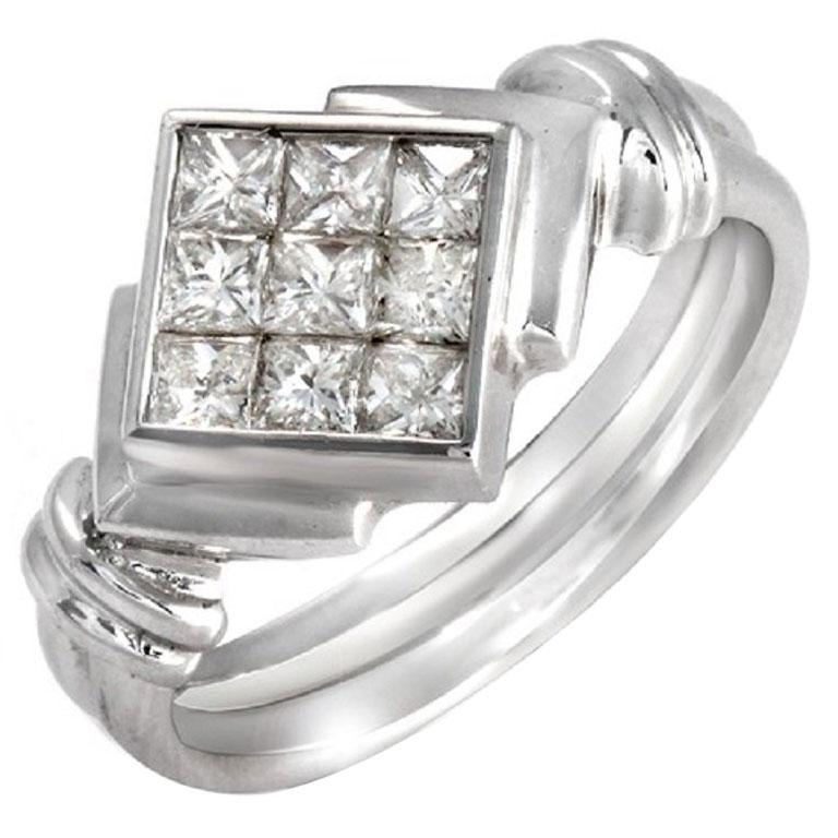 0.84 Carat Invisible Set Princess Diamonds 18 Karat White Gold Engagement Ring