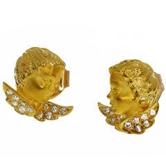 Carrera y Carrera Diamond 18 Karat Yellow Gold Angel Stud Earrings