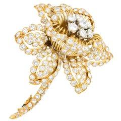 David Webb 13.00 Carat Diamond and 18 Karat Gold Flower Brooch, circa 1960