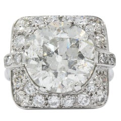 Art Deco 10.07 Carat Diamond and Platinum Large Old European Cut Engagement Ring