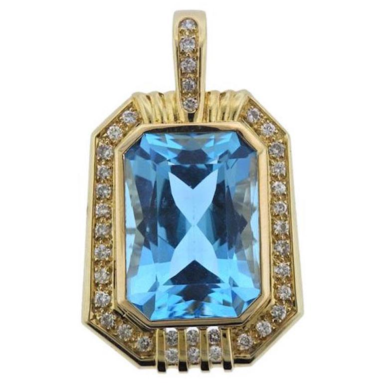 14 karat gold 20 carat blue topaz vs diamond necklace pendant for 14 karat gold 20 carat blue topaz vs diamond necklace pendant for sale aloadofball Image collections