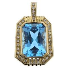 14 Karat Gold 20 Carat Blue Topaz VS Diamond Necklace Pendant