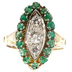 Emerald Diamond Gold Halo Ring