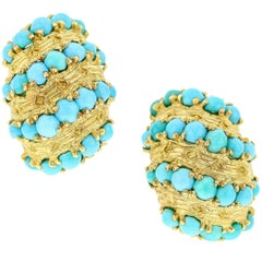 Van Cleef & Arpels Turquoise and Gold Cluster Earrings