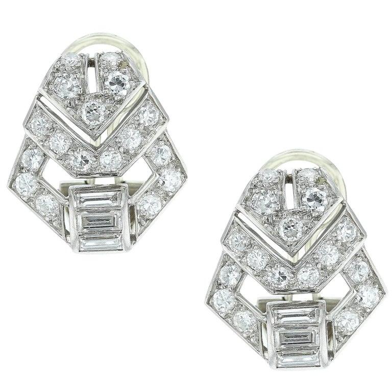 Art Deco Diamond Earrings For
