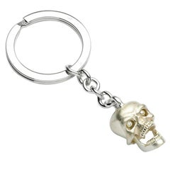 Deakin & Francis Sterling Silver Skull Key Ring with Diamond Eyes