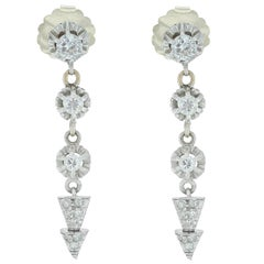 Round and Bullet Shaped Diamond Drop Earrings
