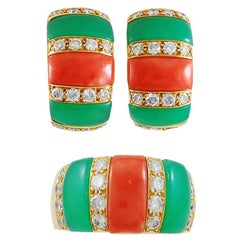 Van Cleef & Arpels Diamond, Coral, Chrysoprase Earring and Ring