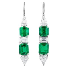 Bayco 8.47 Total Carats Colombian Emerald Diamond Platinum Earrings