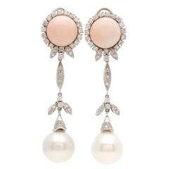 18 Karat Gold Leaf Pink Coral Diamonds Australian Sea Pearl Earrings