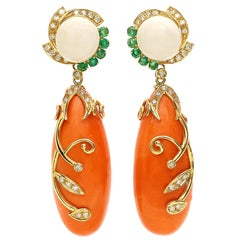 18 Karat Gold Floral Wheel Salmon Coral Ivory Emeralds and Diamonds Earrings