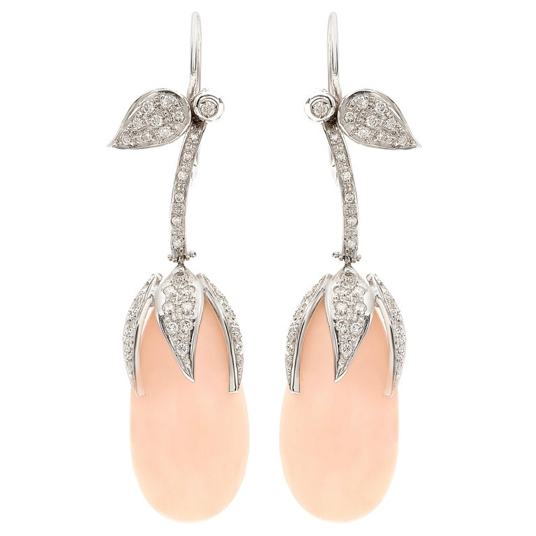 18 Karat White Gold Pale Pink C And Diamonds Fl Earrings For