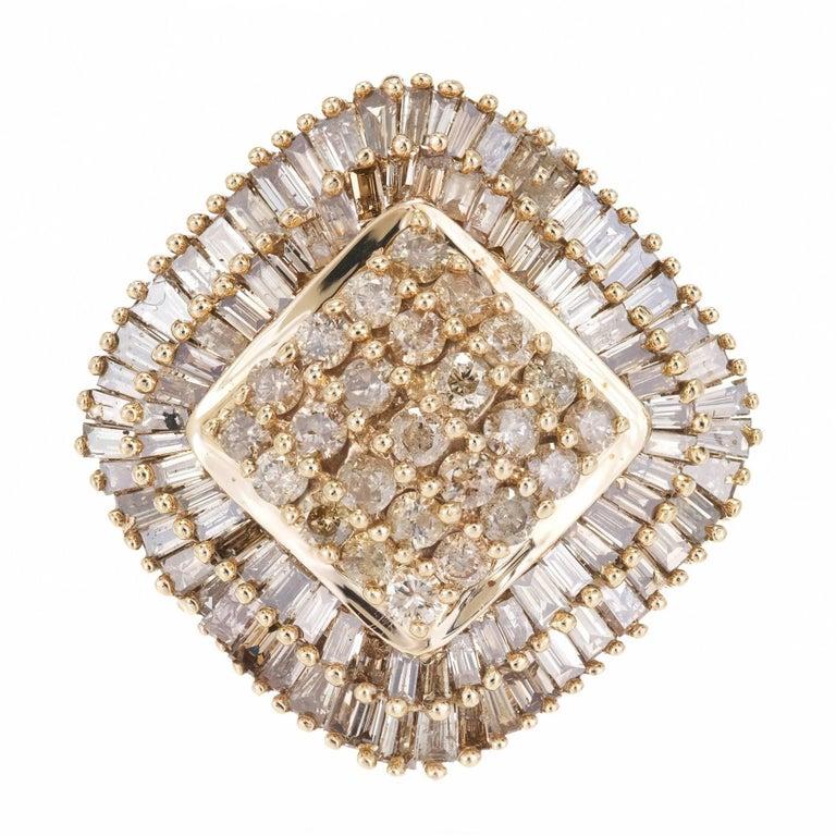 2.75 Carat Smoky Brown Diamond Gold Cluster Cocktail Ring
