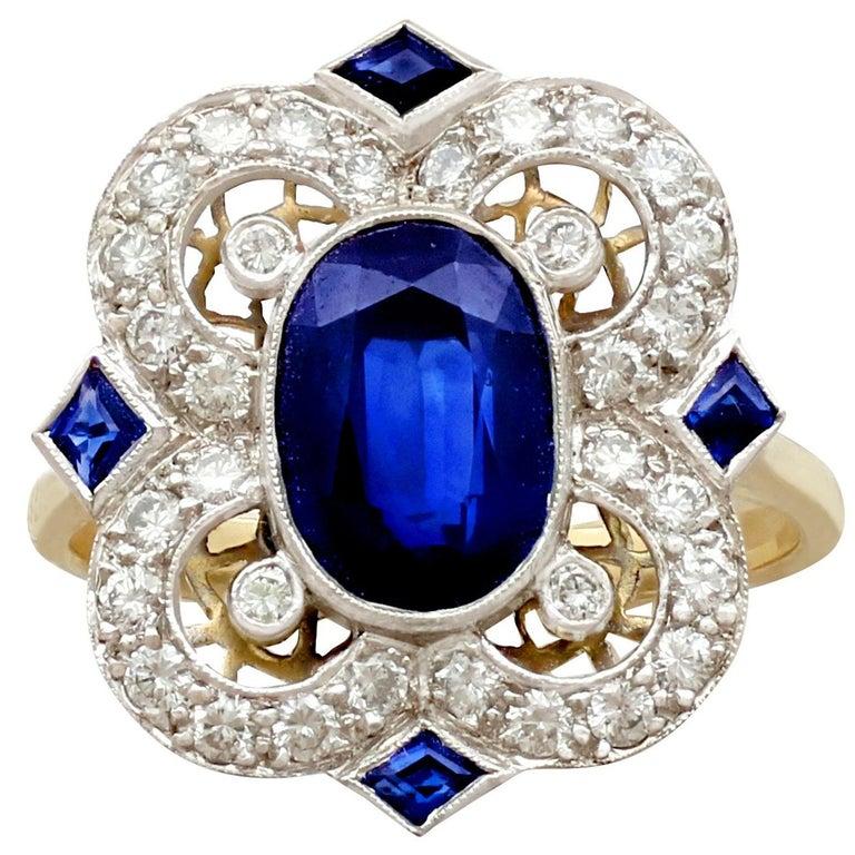 1970s 3.20 Carat Sapphire Diamond Gold Cocktail Ring