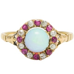 Antique Victorian Opal Ruby Diamond Cluster Ring