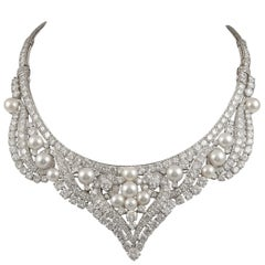 David Webb Pearl and Diamond Necklace/Tiara