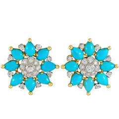 Marchak Diamond and Turquoise Ear Clips