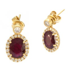 Solid 18 Karat Yellow Gold Genuine Ruby and Natural Diamond Earrings 5.4g