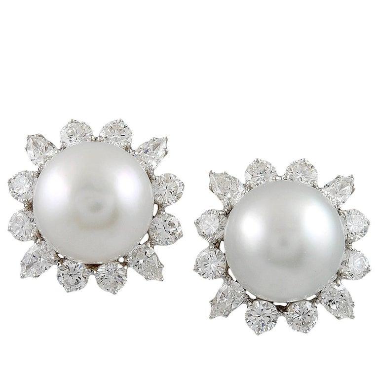 Bulgari   South Sea Pearl Diamond Platinum Earrings