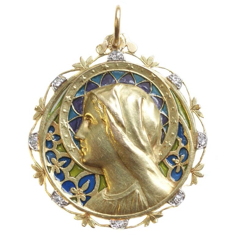 French Art Nouveau Madonna Virgin Mary Plique Ajour Enamel Diamond Gold Pendant