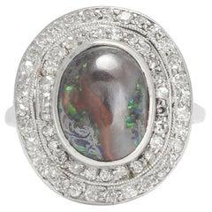 Antique Edwardian Black Opal Diamond Double Halo Cocktail Ring