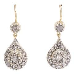 Antique Georgian Rose Cut Diamond Teardrop Earrings