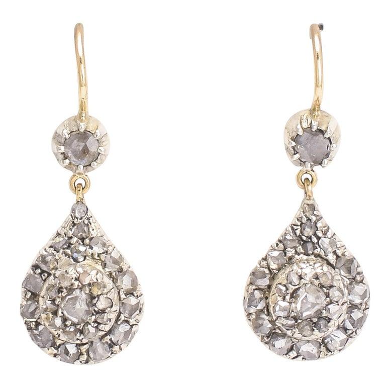 Antique Georgian Rose Cut Diamond Teardrop Earrings For