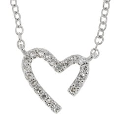 9 Carat White Gold Diamond Heart Necklace