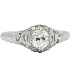 Edwardian 0.50 Carat Diamond and 18 Karat White Gold Engagement Ring GIA