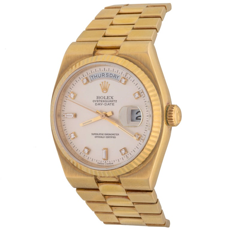 Rolex Yellow Gold President Day-Date Oyster Quartz Wristwatch Ref 19018